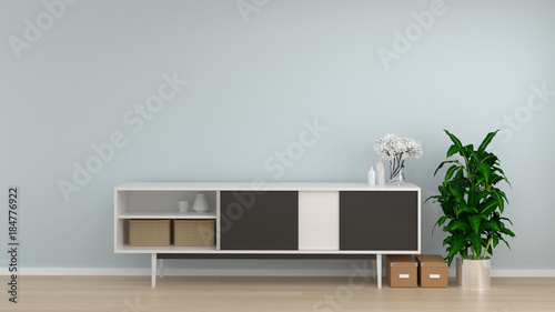 Valokuvatapetti cabinet in living room interior background,3D rendering empty wall and ornamenta