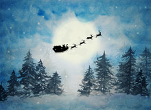 Santa Claus With Sleigh And Re...