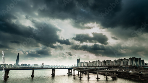 The scenery of Han River in Seoul filled with black clouds. Canvas Print