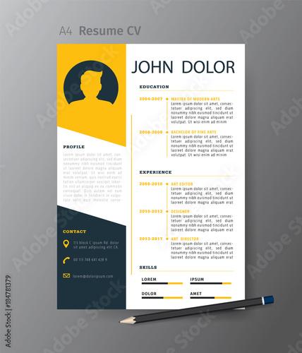 Clean Modern Design Template Of Resume Or Cv Vector Illustration