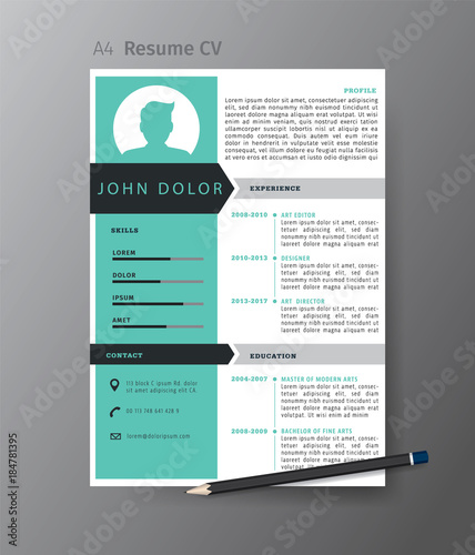 Clean modern design template of resume or CV,vector illustration ...