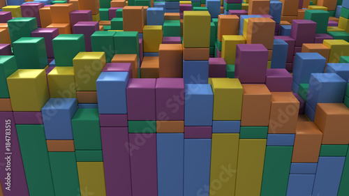 Fototapety, obrazy: Wall of blue, green, orange and purple cubes