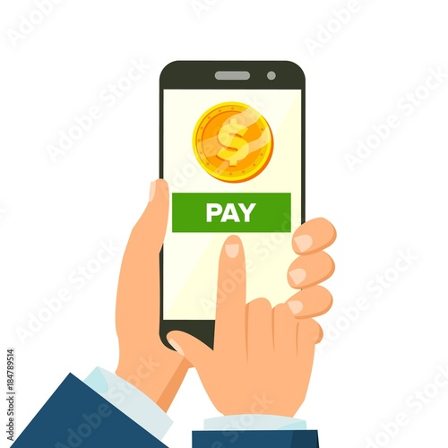 Mobile Payment Vector Hand Holding Smart Phone Commerce Concept Wireless Money Transfer Isolated Flat Cartoon Ilration