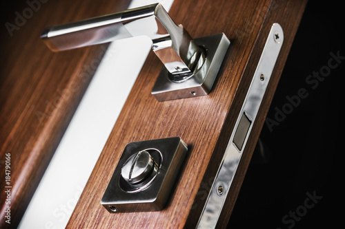 Obraz door handle and latch of brass on veneer doors - fototapety do salonu