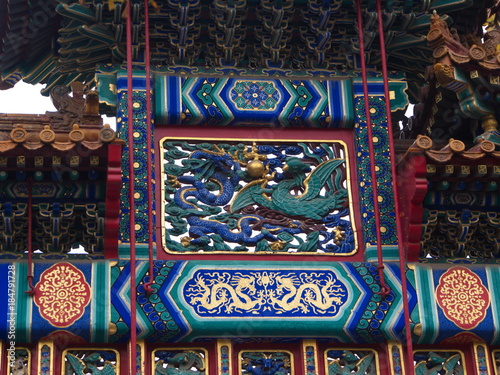 Foto op Aluminium Imagination The Famous Confucius Temple in Beijing with detail of the door and the sculpture.Travel in Beijing City, China. 21th October, 2017.