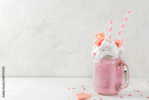 Fotografie, Obraz  Crazy shake, romantic milkshake for Valentine's day with strawberry, white choco