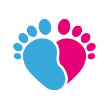 Icono Plano Corazon Pies Infantiles Rosa Y Azul En Fondo Blanco