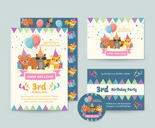 Cute Wild Animal Theme Happy B...