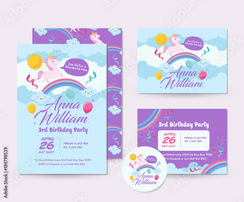 Fototapeta Cute Unicorn Theme Happy Birthday Invitation Card Set And Flyer Illustration Template