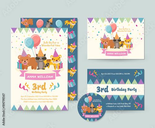 Fototapeta Cute Wild Animal Theme Happy Birthday Invitation Card Set And Flyer Illustration Template