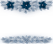 Christmas Garland With Silver Color Fir Branches, Blueberries And Blue Poinsettia. Vector Illustration.