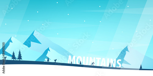 Winter Sport. Ski and Snowboard. Mountain landscape. Vector illustration.