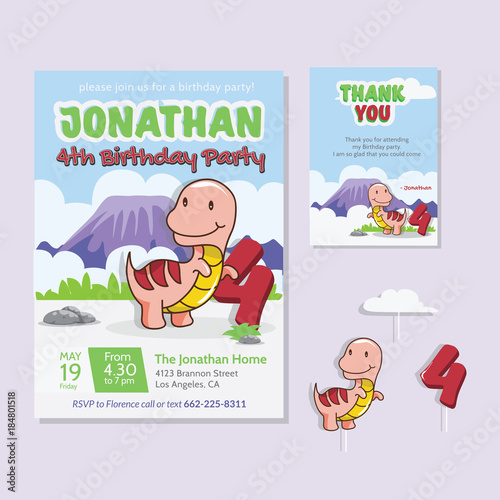 Cute Dinosaur Theme 4th Birthday Party Invitation And Thank You Card Illustration