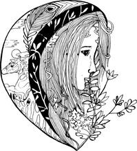 Stylized Girl With Ornament And Plant Motifs.