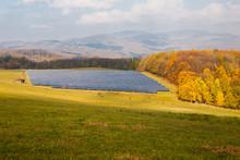 Solar Panels On Green Meadow