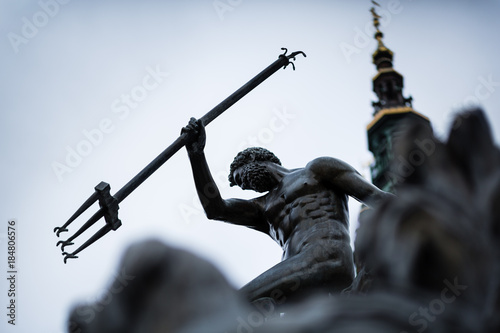 Close-up of Neptune's Fountain, in the center of Gdansk, Poland Canvas Print