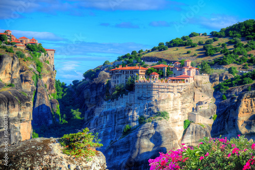 Garden Poster Blue Beautiful landscape of Meteora with religious monastery in summer holiday, Greece - Europe