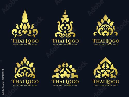 Leinwand Poster Gold thai art traditional lotus flower logo vector set design