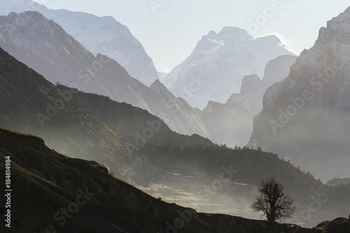 Misty mountain. Himalayas, Nepal Canvas Print