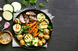 Fried vegetables, top view