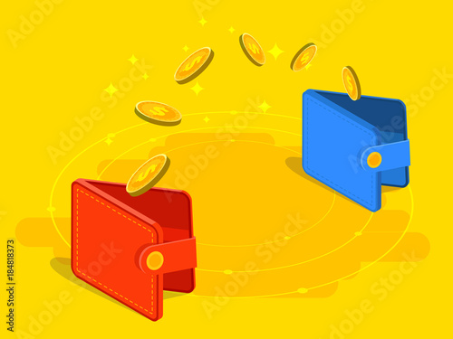 Money transfer from and to wallet in isometric vector design Fototapet