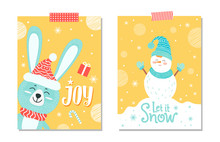 Joy And Let It Snow Poster Set Vector Illustration