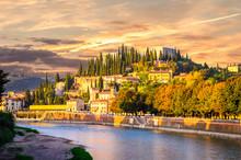 Teatro Romano And Castel San Pietro On Adige River In Verona, Veneto Region, Italy.