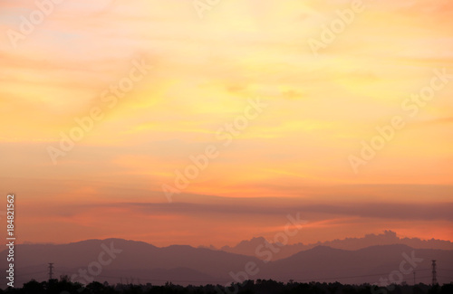 Foto op Aluminium Bergen Yellow gold sky evening In tropical countries summer