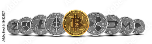 Set of gold and silver crypto currencies with golden bitcoin in front of other crypto currencies as leader isolated on white background Canvas Print