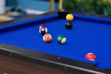 Blue Pool Table With Balls. Th...