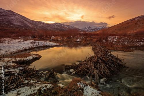 Foto op Plexiglas Bruin Snowy winter sunset in the Utah mountains, USA