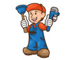 Professional Water Treatment Plumber Cartoon Illustration