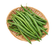 Green Beans With Leaves On Whi...