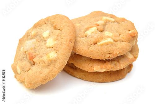 фотография Small stack of macadamia nut and white chocolate cookies.