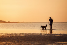Man With A Dog In The Sea