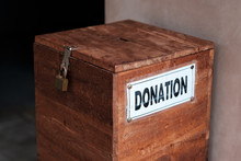 A Box For Donations In Temple. Concept Of Positive Social Communication