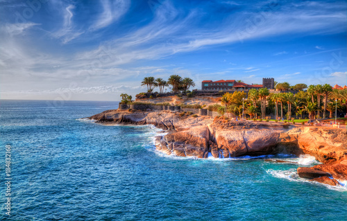 Beautiful panorama of Adeje coast in Canary island, with blue water and amazing Fototapeta