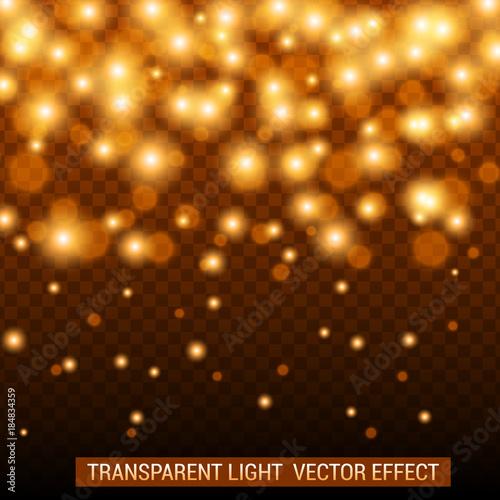 Fototapeta Transparent light vector effect. Bright, glowing, shiny festive decoration. Golden color. obraz na płótnie