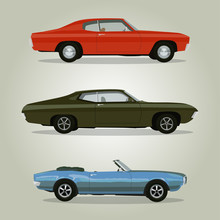 Retro Cars Set Vintage Isolate...