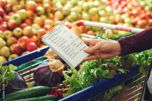 Papel de parede Person shopping at the grocery shop food concept