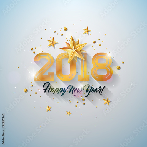 happy new year illustration with typography letter gold cutout paper star and ornamental ball on