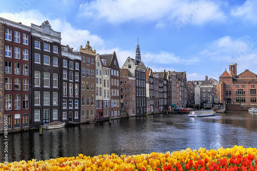 Photo  Traditional old buildings in Amsterdam.