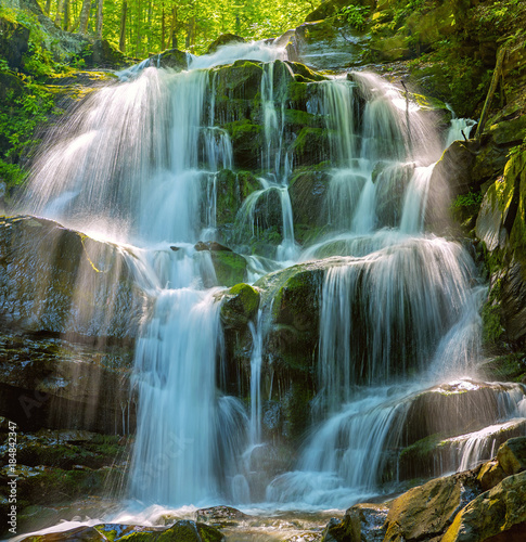 Tuinposter Watervallen Forest waterfall Shipot. Ukraine, Carpathian mountains.