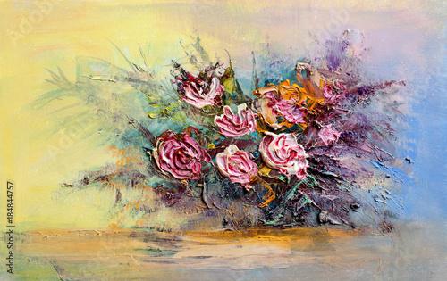 Obraz olejny bukiet róż. Styl impresjonistyczny.
