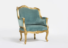 Golden And Blue Classic Armchair Isolated On White Background