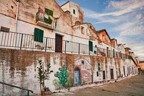 Fotografie, Obraz  Pisticci, Matera, Basilicata, Italy: street in the old town with the characteris