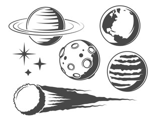 Set of vintage planet icons