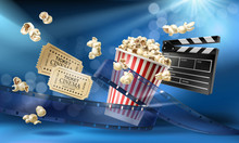 Cinema Blue Background With 3d...