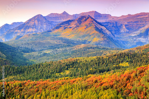 Spoed Foto op Canvas Purper Autumn morning on Timp, Utah, USA.