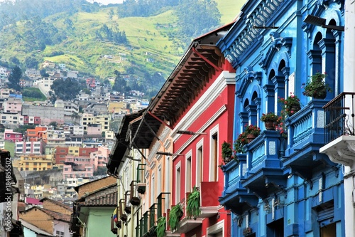 Typical Colorful colonial architetcure in Quito, Ecuador Wallpaper Mural